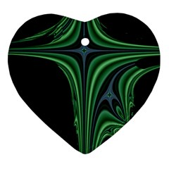 Line Light Star Green Black Space Ornament (heart) by Mariart