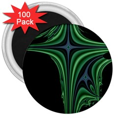 Line Light Star Green Black Space 3  Magnets (100 Pack) by Mariart
