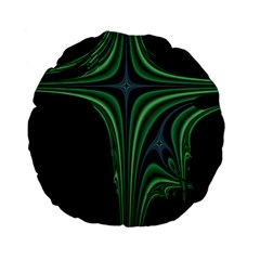 Line Light Star Green Black Space Standard 15  Premium Flano Round Cushions by Mariart