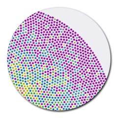 Japanese Name Circle Purple Yellow Green Red Blue Color Rainbow Round Mousepads by Mariart