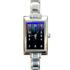 Rain Color Paint Rainbow Rectangle Italian Charm Watch by Mariart