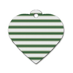 Plaid Line Green Line Horizontal Dog Tag Heart (one Side) by Mariart