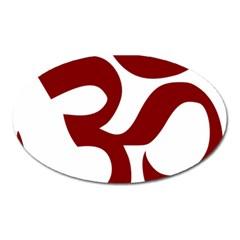 Hindu Om Symbol (dark Red) Oval Magnet by abbeyz71