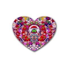 Hawaiian Poi Cartoon Dog Rubber Coaster (heart)  by pepitasart
