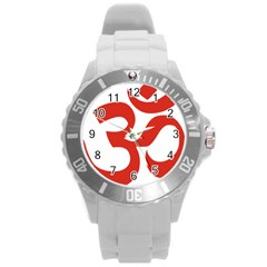 Hindu Om Symbol (red) Round Plastic Sport Watch (l) by abbeyz71