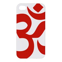 Hindu Om Symbol (red) Apple Iphone 4/4s Premium Hardshell Case by abbeyz71