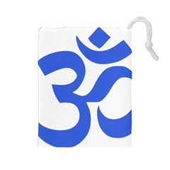 Hindu Om Symbol (royal Blue) Drawstring Pouches (large)  by abbeyz71