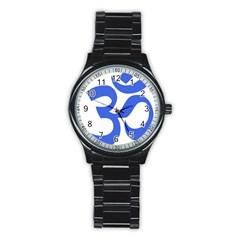 Hindu Om Symbol (royal Blue) Stainless Steel Round Watch by abbeyz71
