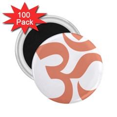 Hindu Om Symbol (salmon) 2 25  Magnets (100 Pack)  by abbeyz71