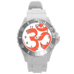 Hindu Om Symbol (peach) Round Plastic Sport Watch (l) by abbeyz71