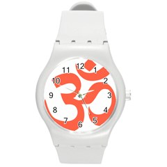 Hindu Om Symbol (peach) Round Plastic Sport Watch (m) by abbeyz71