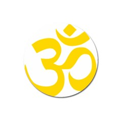 Hindu Om Symbol (yellow) Magnet 3  (round) by abbeyz71