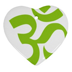 Hindu Om Symbol (lime Green) Heart Ornament (two Sides) by abbeyz71