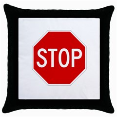 Stop Sign Throw Pillow Case (black) by Valentinaart
