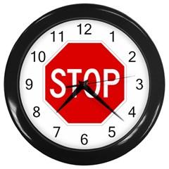 Stop Sign Wall Clocks (black) by Valentinaart