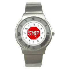 Stop Sign Stainless Steel Watch by Valentinaart