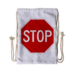Stop Sign Drawstring Bag (small) by Valentinaart