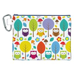Cute Owl Canvas Cosmetic Bag (xxl) by Nexatart