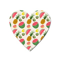 Fruits Pattern Heart Magnet by Nexatart