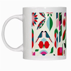 Abstract Peacock White Mugs by Nexatart