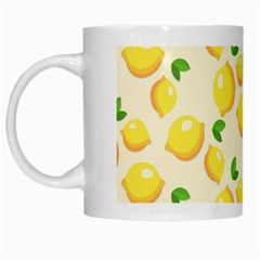 Lemons Pattern White Mugs by Nexatart
