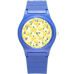 Lemons Pattern Round Plastic Sport Watch (s) by Nexatart