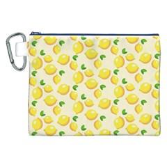 Lemons Pattern Canvas Cosmetic Bag (xxl) by Nexatart