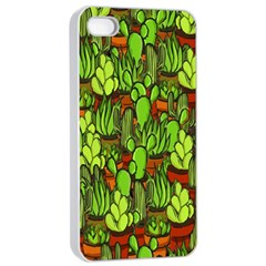 Cactus Apple Iphone 4/4s Seamless Case (white) by Valentinaart