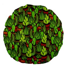 Cactus Large 18  Premium Flano Round Cushions by Valentinaart