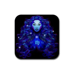 Sign Virgo Zodiac Rubber Coaster (square)  by Mariart