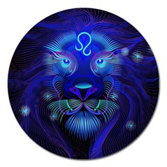 Sign Leo Zodiac Magnet 5  (round) by Mariart