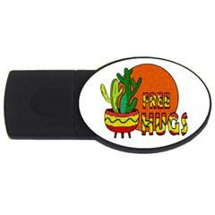 Cactus   Free Hugs Usb Flash Drive Oval (2 Gb) by Valentinaart