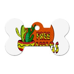 Cactus   Free Hugs Dog Tag Bone (one Side) by Valentinaart