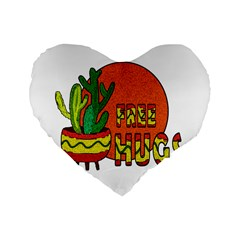 Cactus   Free Hugs Standard 16  Premium Heart Shape Cushions by Valentinaart
