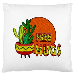 Cactus   Free Hugs Large Flano Cushion Case (one Side) by Valentinaart