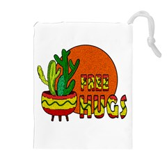 Cactus   Free Hugs Drawstring Pouches (extra Large) by Valentinaart
