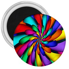 Star Flower Color Rainbow 3  Magnets by Mariart