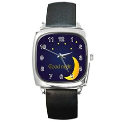 Star Moon Good Night Blue Sky Yellow Light Square Metal Watch by Mariart