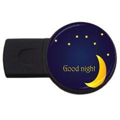 Star Moon Good Night Blue Sky Yellow Light Usb Flash Drive Round (4 Gb) by Mariart