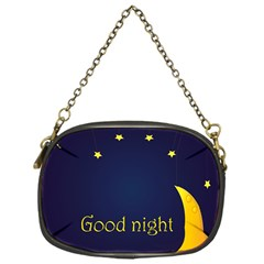 Star Moon Good Night Blue Sky Yellow Light Chain Purses (one Side)  by Mariart