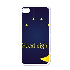 Star Moon Good Night Blue Sky Yellow Light Apple Iphone 4 Case (white) by Mariart