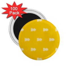 Waveform Disco Wahlin Retina White Yellow 2 25  Magnets (100 Pack)  by Mariart