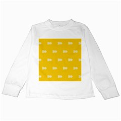 Waveform Disco Wahlin Retina White Yellow Kids Long Sleeve T Shirts by Mariart