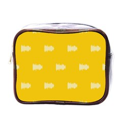 Waveform Disco Wahlin Retina White Yellow Mini Toiletries Bags by Mariart