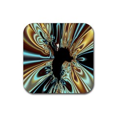 Silver Gold Hole Black Space Rubber Square Coaster (4 Pack)  by Mariart