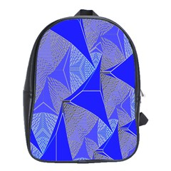Wave Chevron Plaid Circle Polka Line Light Blue Triangle School Bags(large)  by Mariart