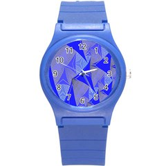 Wave Chevron Plaid Circle Polka Line Light Blue Triangle Round Plastic Sport Watch (s) by Mariart