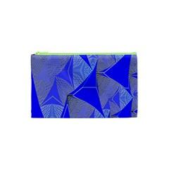 Wave Chevron Plaid Circle Polka Line Light Blue Triangle Cosmetic Bag (xs) by Mariart