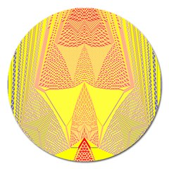 Wave Chevron Plaid Circle Polka Line Light Yellow Red Blue Triangle Magnet 5  (round) by Mariart