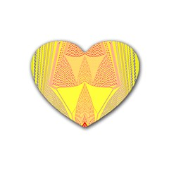 Wave Chevron Plaid Circle Polka Line Light Yellow Red Blue Triangle Rubber Coaster (heart)  by Mariart